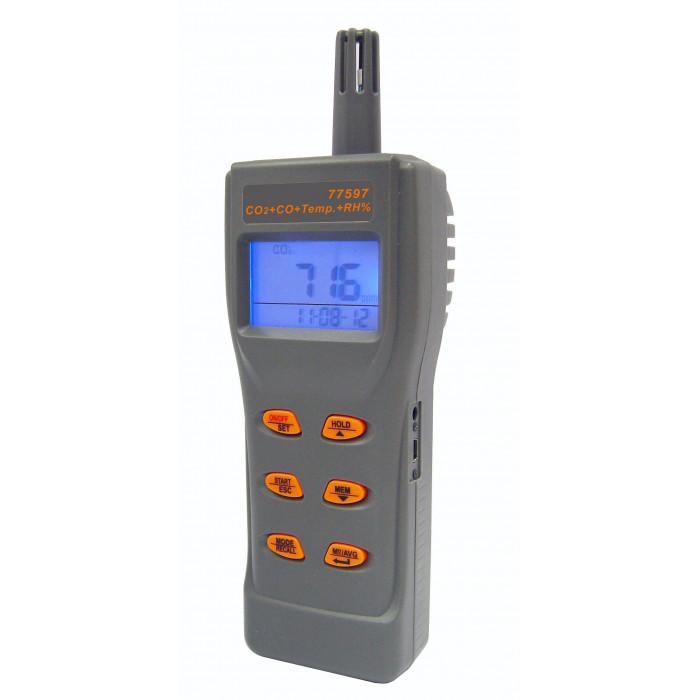 Портативный анализатор CO2 и угарного газа в воздухе, термогигрометр 77597