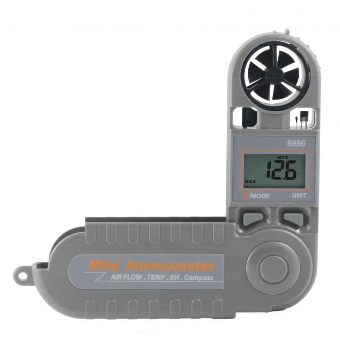 Компактный термоанемометр, гигрометр с фиксированным датчиком со встроенным компасом 8996