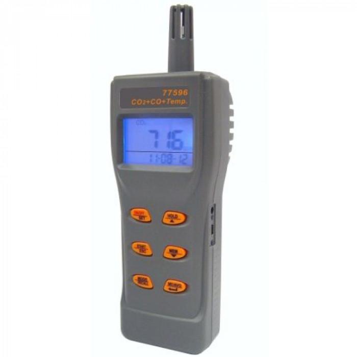 Портативный анализатор CO2 и угарного газа в воздухе, термометр 77596